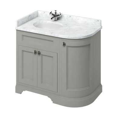 Burlington Freestanding 980 Left Curved Vanity Unit and Minerva Integrated Basin Worktop - Dark Olive - Carrara White