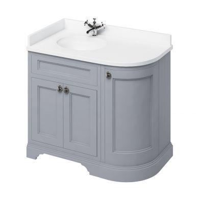 Burlington Freestanding 980 Left Curved Vanity Unit and Minerva Integrated Basin Worktop - Classic Grey - White