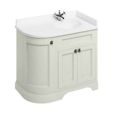 Burlington Freestanding 980 Right Curved Vanity Unit and Minerva Integrated Basin Worktop - Sand - White
