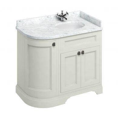 Burlington Freestanding 980 Right Curved Vanity Unit and Minerva Integrated Basin Worktop - Sand - Carrara White