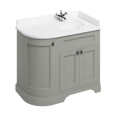 Burlington Freestanding 980 Right Curved Vanity Unit and Minerva Integrated Basin Worktop - Dark Olive - White