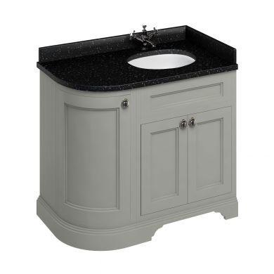Burlington Freestanding 980 Right Curved Vanity Unit and Minerva Integrated Basin Worktop - Dark Olive - Black Granite