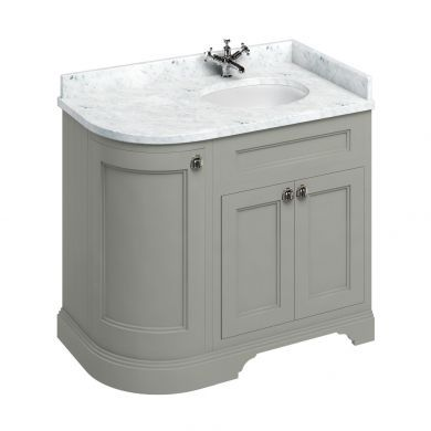 Burlington Freestanding 980 Right Curved Vanity Unit and Minerva Integrated Basin Worktop - Dark Olive - Carrara White