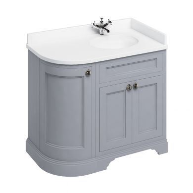 Burlington Freestanding 980 Right Curved Vanity Unit and Minerva Integrated Basin Worktop - Classic Grey - White