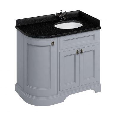 Burlington Freestanding 980 Right Curved Vanity Unit and Minerva Integrated Basin Worktop - Classic Grey - Black Granite
