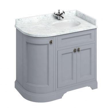 Burlington Freestanding 980 Right Curved Vanity Unit and Minerva Integrated Basin Worktop - Classic Grey - Carrara White
