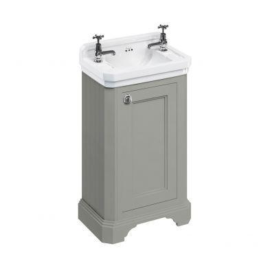 Burlington Freestanding Cloakroom Vanity Unit With Edwardian 510mm Basin - Dark Olive