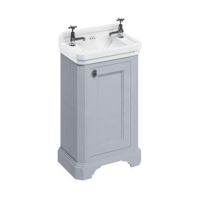 Burlington Freestanding Cloakroom Vanity Unit With Edwardian 510mm Basin - Classic Grey