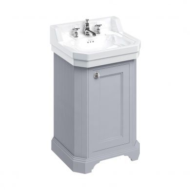 Burlington Freestanding Cloakroom Vanity Unit With Edwardian 560mm Basin - Classic Grey