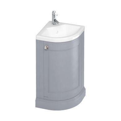 Burlington Freestanding Corner Cloakroom Vanity Unit With Quattrocast Basin - Classic Grey
