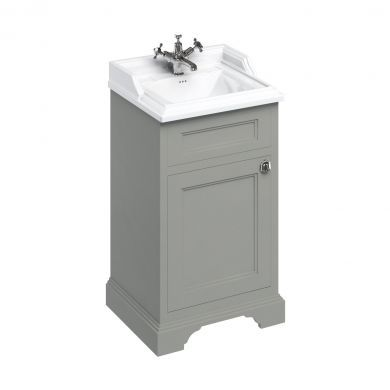 Burlington Freestanding Square Cloakroom Vanity Unit With Classic 510mm Basin - Dark Olive