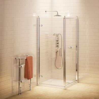 Burlington Hinged Shower Door With Side Panel - 800x800mm