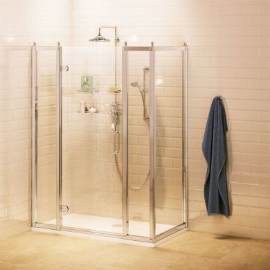 Burlington Hinged Shower Door With Two Inline Panels and Side Panel - 1700x760mm