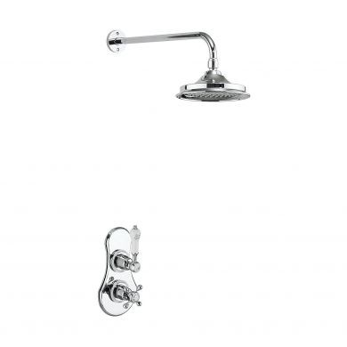 Burlington Severn Thermostatic Single Outlet Concealed Shower Valve With Fixed Shower Arm and 12 Inch Shower Rose