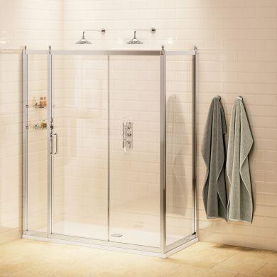 Burlington Soft Close Sliding Door With Inline Panel and Side Panel - 1500x800mm
