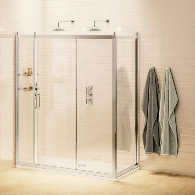 Burlington Soft Close Sliding Door With Inline Panel and Side Panel - 1700x760mm