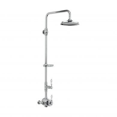 Burlington Stour Thermostatic Exposed Shower Valve Single Outlet With Rigid Riser, Fixed Shower Arm & Soap Basket With 6 Inch Rose