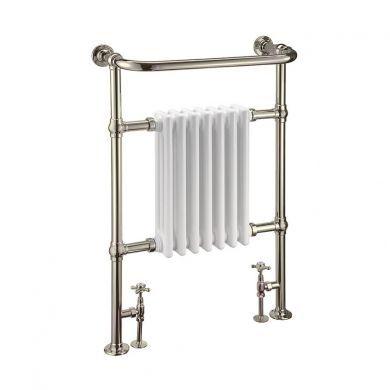 Burlington Trafalgar Traditional Nickel Towel Radiator With White Columns