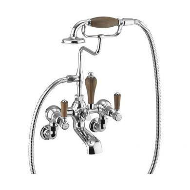 Burlington Kensington Wall Mounted Bath Shower Mixer With S Adjuster and Walnut Indices