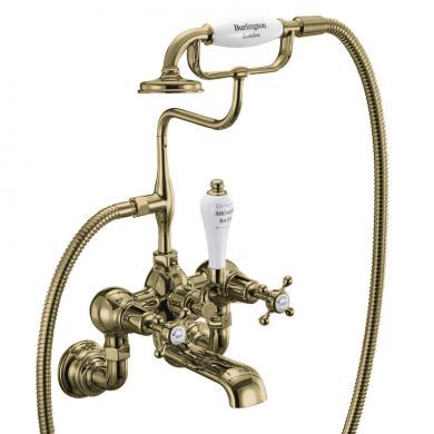 Burlington Claremont Gold Wall Mounted Bath Shower Mixer With S Adjuster