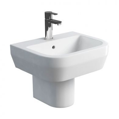 Britton Curve 500mm Basin and Round Fronted Semi Pedestal