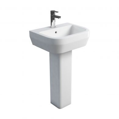 Britton Curve 500mm Basin and Square Fronted Pedestal