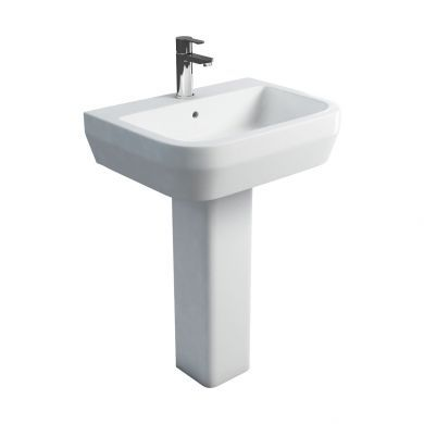 Britton Curve 600mm Basin and Square Fronted Pedestal