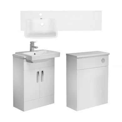 Tavistock Courier 1200mm Left Handed Semi Countertop Vanity Unit and Back To Wall Unit