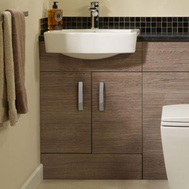 Tavistock Courier 600mm Semi Countertop Vanity Unit and Ceramic Basin