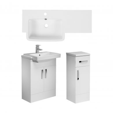 Tavistock Courier 900mm Semi Countertop Unit and Cupboard With Left Handed Isocast Basin