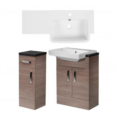 Tavistock Courier 900mm Semi Countertop Unit and Cupboard With Right Handed Isocast Basin
