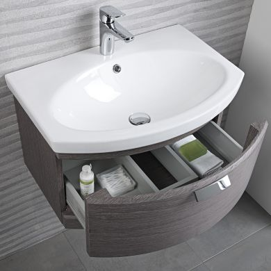 Tavistock Tempo 650mm Wall Mounted Vanity Unit With Ceramic Basin