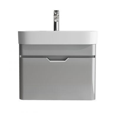 Tissino Loretto 57cm 1 Drawer Wall Mounted Basin Unit - Gloss Soft Grey