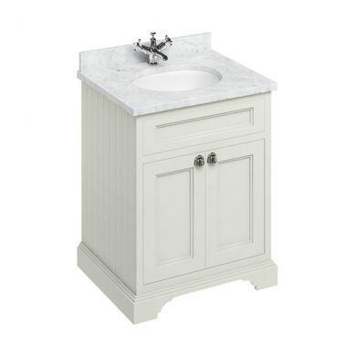 Burlington Freestanding 650 Two Door Vanity Unit and Minerva Integrated Basin Worktop - Sand - Carrara White