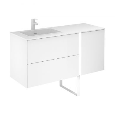 Frontline Royo Go 1200mm Illuminated Double Drawer Vanity Unit with Solid Surface Basin and Bluetooth Speaker