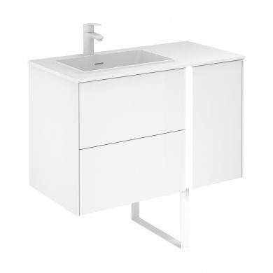 Frontline Royo Go 900mm Illuminated Double Drawer Vanity Unit with Solid Surface Basin and Bluetooth Speaker