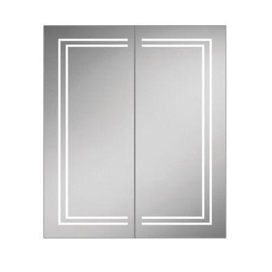HiB Edge 60 Double Door LED Illuminated Steam Free Mirrored Cabinet - 600x700mm