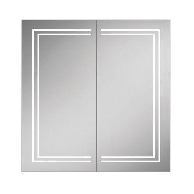 HiB Edge 80 Double Door LED Illuminated Steam Free Mirrored Cabinet - 800x700mm
