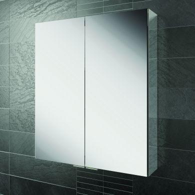 HiB Eris 60 Double Door Aluminium Mirrored Cabinet - 600x700mm