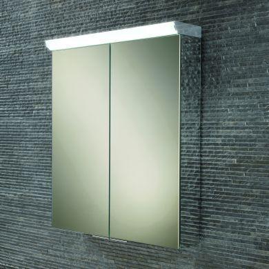 HiB Flare Double Door LED Illuminated Mirrored Cabinet - 600x700mm