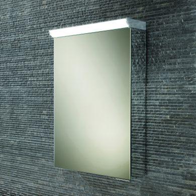 HiB Flux Single Door LED Illuminated Mirrored Cabinet - 400x600mm