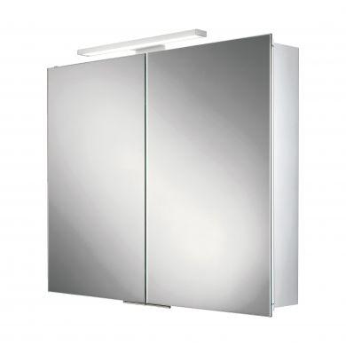 HiB Neutron Double Door LED Illuminated Mirrored Cabinet - 600x700mm