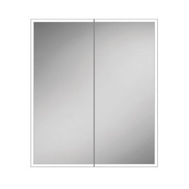 HiB Qubic 60 Colour Changing LED Double Door Mirrored Cabinet - 600x700mm