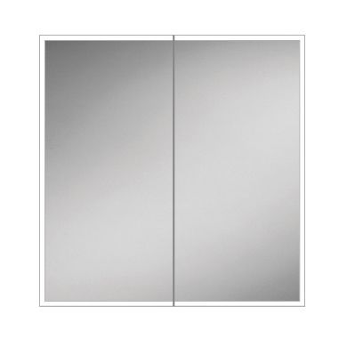 HiB Qubic 80 Colour Changing LED Double Door Mirrored Cabinet - 800x700mm