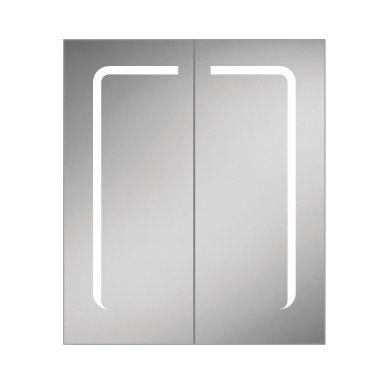 HiB Stratus 60 Double Door LED Illuminated Steam Free Mirrored Cabinet - 600x700mm