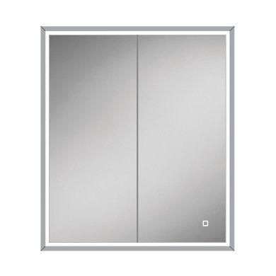 HiB Vanquish 60 Double Door LED Illuminated Steam Free Recessed Mirrored Cabinet - 630x730mm