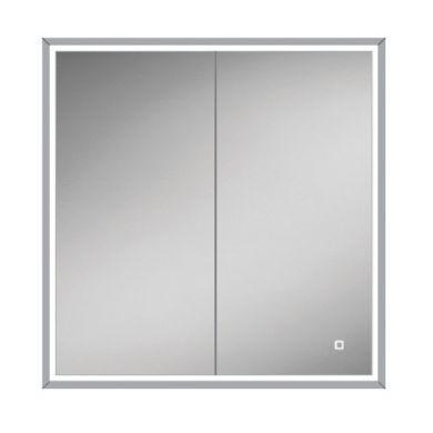 HiB Vanquish 80 Double Door LED Illuminated Steam Free Recessed Mirrored Cabinet - 830x730mm