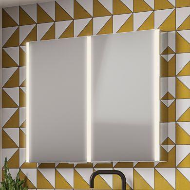 HiB Xenon 100 Double Door LED Illuminated Mirrored Cabinet - 1000x700mm