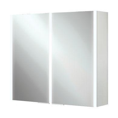 HiB Xenon 80 Double Door LED Illuminated Mirrored Cabinet - 820x700mm