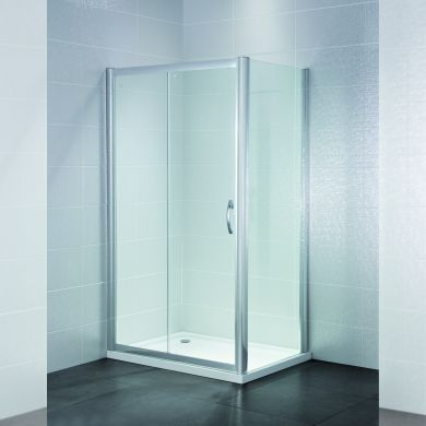 Frontline Identiti2 8mm Sliding Shower Door with Curved Satin Silver Handle - 1600mm